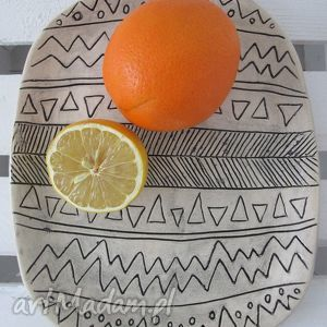 ceramika aztecki talerz, ceramiczna, patera, aztecka, minimalistyczny, nowoczesna