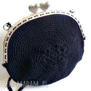 ręcznie zrobione na ramię czarna torebka z biglami