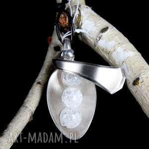 hand made wisiorki kryształ górski mrożony kamień naturalny wisior