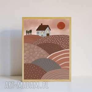 plakat a4 wiejski domek, retro, wieś, dekoracyjny