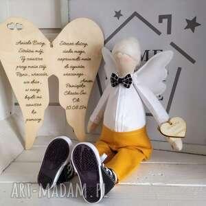 Anioł tilda pamiątka chrztu komunii lalki fabryqaprzytulanek