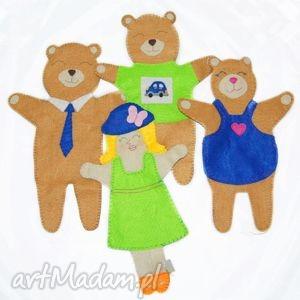 zestaw filcowych pacynek złotowłosa i 3 niedźwiadki - maskotki do kreatywnej