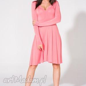 sukienka z dekoltem, t146, różowa - sukienka, dzianina, wiskoza, dekolt, v