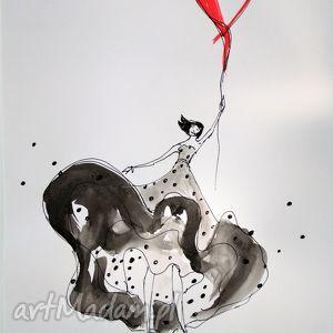 obrazy praca akwarelą i piórkiem szczęście, akwarela, rysunek, serce, dziewczyna