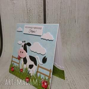 zaproszenie kartka krówka na łączce - krowa, farma, zaproszenie, urodziny