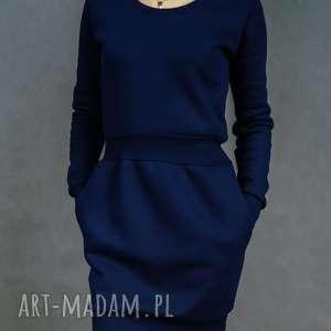 lil yo odziez sukienka dresowa bombdress granatowa, dresowa, długi rękaw, ciepła