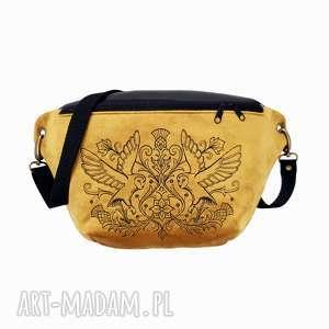 nerka xxl złoto i czerń sowy, nerka, torebka, złoto, aksamit, las