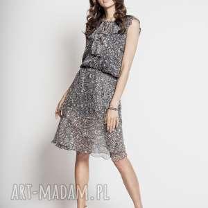sukienki satori - jedwabna sukienka z falbankami, szara
