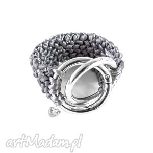 ręcznie robiona bransoletka szara, bizuteria, srebro, handmade, kobieca, delikatna