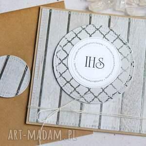 handmade kartki kartka komunijna glam light grey