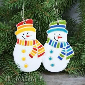 dwa bałwany zestaw zawieszek, bałwan, zawieszka, zima, śnieg, ozdoba świąteczna