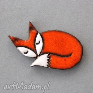 lisek-broszka ceramiczna - skandynawski, design, prezent, urodziny, imienieny, minimalizm