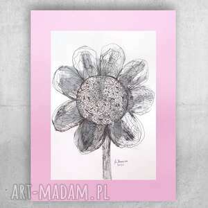 ładny rysunek do sypialni, minimalizm grafika z kwiatkiem, oryginalny szkic