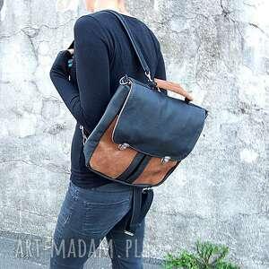 plecak torba czarno-brązowa - plecak, torba, teczka, tornister, skóra