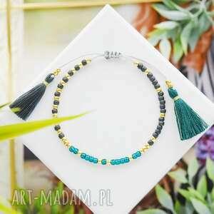 bransoletka na sznurku z chwostami szmaragdowo-grafitowa minimal emerald and