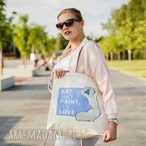ręcznie robione na zakupy torba bawełniana (średnia) art isnt paint, its love