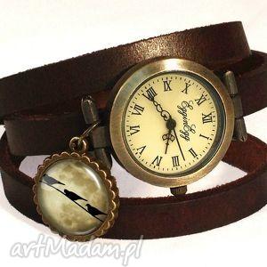 ręcznie robione zegarki księżycowe ptaszki - zegarek/bransoletka na skórzanym pasku