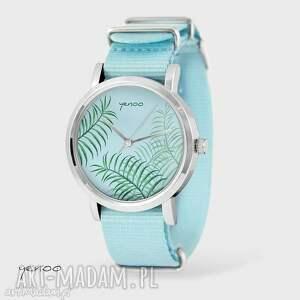 zegarek, bransoletka - jungle leaves błękitny, nato, bransoletka, nato