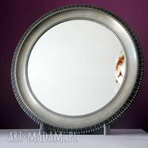 lustro okrągłe w cynowej ramie vintage, lustro, okrągłe, rama, cynowa, vintage