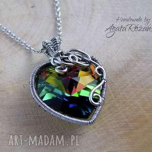 Wisiorek Swarovski Xilion Heart Vitrail Medium, wire wrapping, swarovski, wisiorek