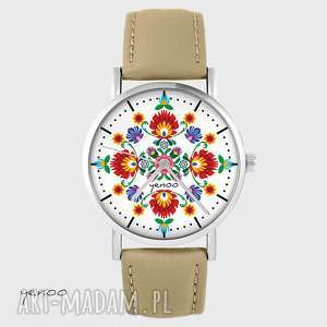 zegarki zegarek - folkowa mandala skórzany, beżowy, zegarek, bransoletka