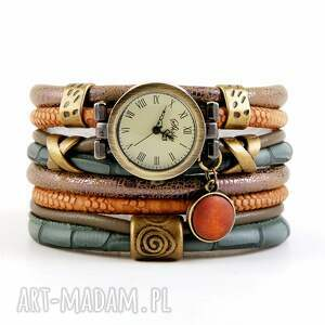zegarki zegarek-bransoletka zielono-brązowy z drewnianą zawieszką, zegarek