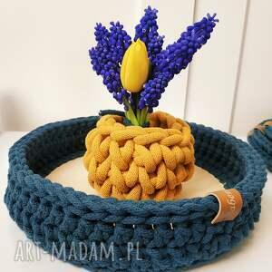 kosze taca dekoracyjna ze sznurka bawełnianego, drewniana