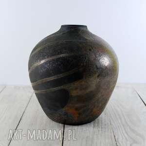 wazon raku rozlany brąz, technika raku, ceramika artystyczna, handmade