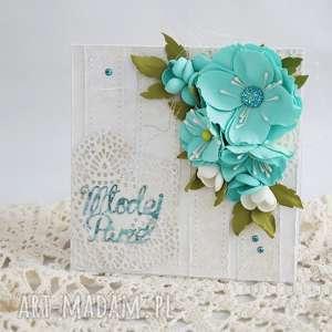 Kartka ślubna - turkusowe kwiaty - ,kartka-ślubna,młodej-parze,kwiaty,scrapbooking,
