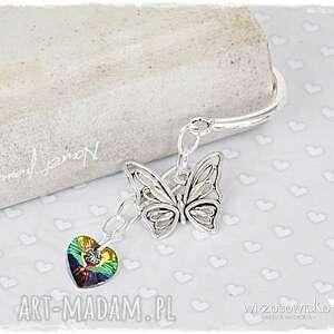 Prezent Motyle serce - zakładka ze Swarovskim, zakładka, swarovski, serce, motyl