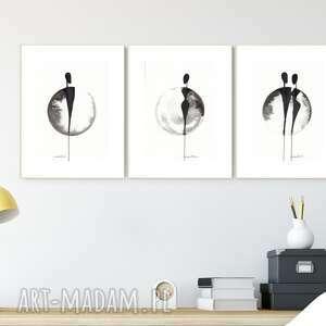 zestaw 3 grafik a4 wykonanych ręcznie, grafika czarno-biała, abstrakcja, 2606726