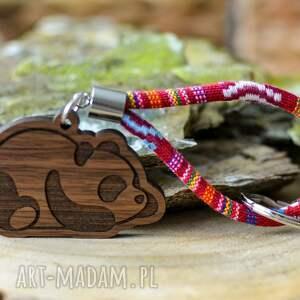 handmade breloki brelok do kluczy boho panda z drewna orzech aztekoo