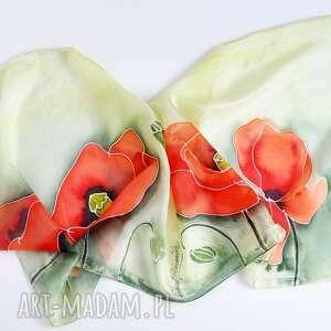 malowany szal - duże maki na zieleni, szal, jedwabny szalik, makowy