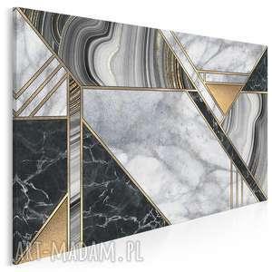 obraz na płótnie - marmur geometryczny złoto 120x80 cm 96401, marmur, kamień