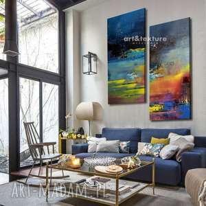 ręczne wykonanie dekoracje rozlane niebo - abstrakcyjne obrazy do modnego salonu