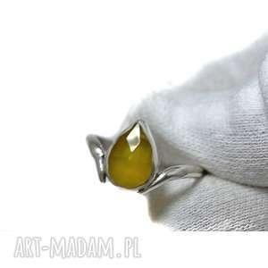 Chalcedon miodowy, chalcedon, srebro, 925, stylowy, kamień, naturalny