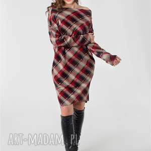 asymetryczna dzianinowa sukienka w kratę rozm 34-46, kratka, asymetryczna, dzianina