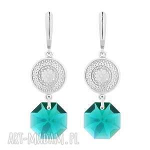 srebrne długie kolczyki z medalionami i kryształami swarovski® crystal