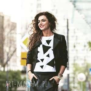 T-SHIRT - KOSZULKA TRIANGLE MESS BLACK, ROZMIAR S, biała, koszulka, t-shirt, bawełna