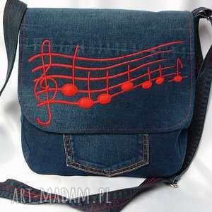 ręczne wykonanie na ramię torebka z ciemnego jeansu listonoszka w nutki