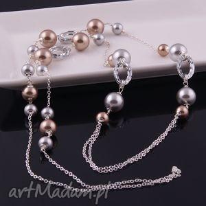 Shine, elegancki naszyjnik z pereł Swarovski - ,długi,naszyjnik,swarovski,perły,srebro,