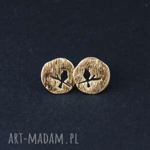 lume handmade kolczyki wkrętki ptak na gałęzi - złote, ptaki, małe, sportowe