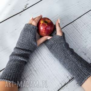 Mitenki szare, rękawiczki, wełna, wełniane