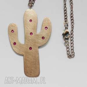 wisiorki kaktus wisior, brąz, swarovski, łańcuszek