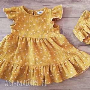 muślinowa sukienka musztardowa 68/74, muślin, bawełna, musztarda, ekoubranka