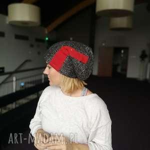 czapka wełniana ze wstawkami dzianinowymi unisex - czapka, wełna, zimowa, kolorowa