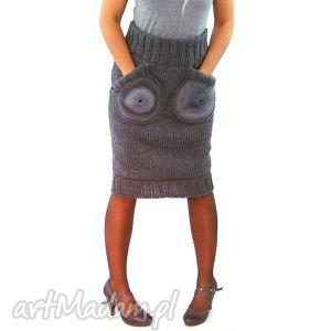 szara spódnica z okrągłymi kieszeniami, spódnica, spódniczka, dzianinowa