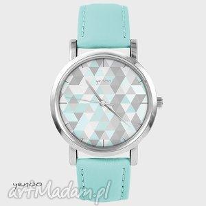 zegarek, bransoletka - geometric pastel turkusowy, skórzany