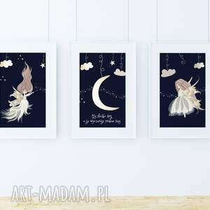 well zestaw 3 plakatów a3 / pięknych snów, noc, księżyc, wróżki, gwiazdy