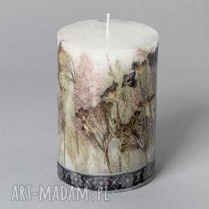 świeczniki mała świeca z suszonymi kwiatami strzyga, ludowa, folk, etniczna, kwiaty